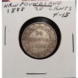 1888 Newfoundland, Canada Twenty Cent Piece. F15. Catalog value $70.00