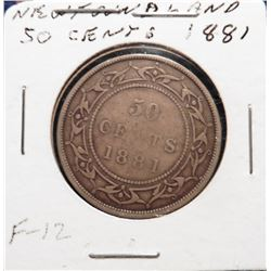 1881 Newfoundland, Canada Silver Half Dollar. Fine. Catalog value $65.00