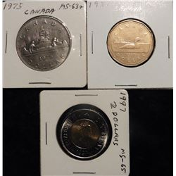 1975 & 1987 Canada One Dollar Coins & 1997 Canada Polar Bear Two Dollar Coin. All BU.