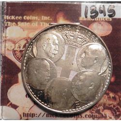 1863-1963 Greece 30 Drachmai. KM86. Centennial of Five Greek Kings. Brilliant Toned Uncirculated. .8