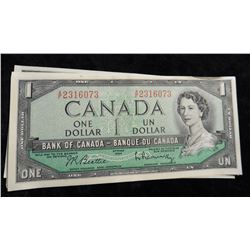 (5) 1954 Series Canada One Dollar Bank notes is Rotation. Crisp Uncirculated.