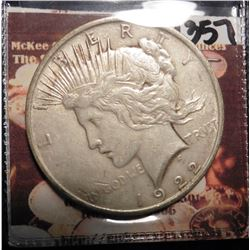1922 P U.S. Peace Silver Dollar. Fine condition.