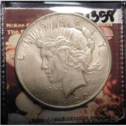 1922 P U.S. Peace Silver Dollar. EF condition.
