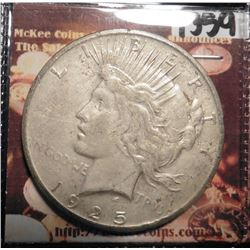 1925 P U.S. Peace Silver Dollar. Very Fine condition. Rim ticks.