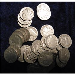 (40) Old circulated Buffalo Nickels.