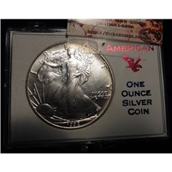1992 American Eagle .999 fine One Ounce Silver Dollar. BU. In a plastic case.