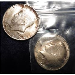 1964 P & D Kennedy Half Dollars. Toned BU.