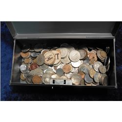 (369) Various Foreign Coins & (2) Tualatin, Ore. Wooden Nickels in a steel box. Several Silver, not
