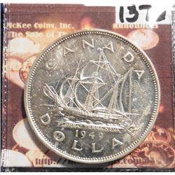 "1949 Canada Silver Dollar. AU. ""The Matthew, John Cabot's ship. KM47."