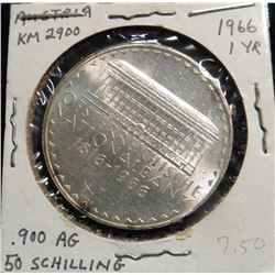 1966 Austria 50 Schilling .900 fine Silver. KM2900. 150th Anniversary of National Bank. One Year typ