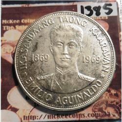 ND (1969) 1869-1969 Philippines .900 fine Silver Centennial of Birth of Aguinaldo. KM201. Prooflike.
