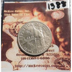 1952 Cuba Twenty Centavos 50th Year of Republic .900 fine silver. KM24. KM value $40.00.