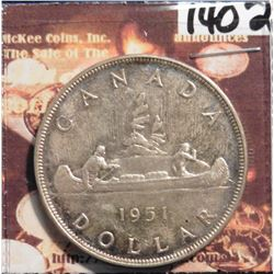 1951 Canada Silver Dollar.  3 Water lines. KM46. Prooflike. KM value $40.00.