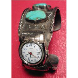Navajo Indian 'Old Pawn' Sterling Silver with Turquoise and 'Timex' Watch (doesn't run) Bracelet. Ha