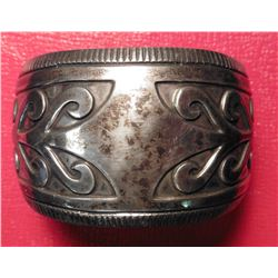 Zuni Terry Wadsworth Style Sterling Silver Overlay Cuff Bracelet. Circa 1950 era. Not signed. 2.49 t