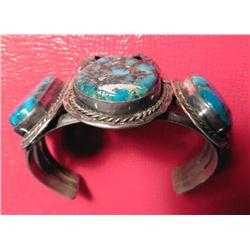 "Old Pawn' Sterling Silver and Spider Web Turquoise Bracelet. Handmade and signed ""MAW"", possibly 'Ma"