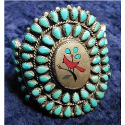 John-B-Hawley- Style Unsigned Zuni 'Cardinal' Bracelet. 73 Insets of Blue Turquoise and Red stones.