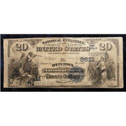 "Serial No. T675860. $20 ""Ottumwa National Bank Ottumwa Iowa"" Second Charter, Midwest letter, Value B"
