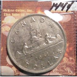 1951 Canada Silver Dollar.  3 Water lines. KM46. EF. KM value $40.00.