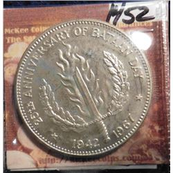 ND(1967) 1942-1967 Philippines One Peso .900 fine Silver 25th Anniversary of Bataan Death March. KM1