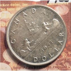 1951 Canada Silver Dollar.  3 Water lines. KM46. AU. KM value $40.00.