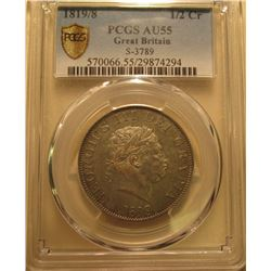 1819/8 Great Britain Half-Crown Discovery Coin. PCGS AU55. Sear 3789. No. 570066.55/29874294. This f