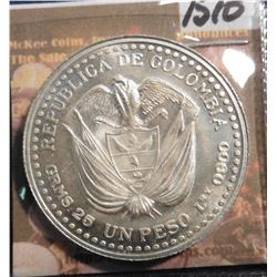 1956 Colombia .900 fine silver Peso. KM216. 200th Anniversary of Popayan Mint. Brilliant Unc. KM val