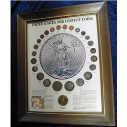"Framed ""United States 20th Century Coins"" Set. Includes (6) different Cents, (4) Nickels, (4) Dimes,"