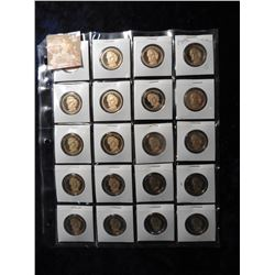 "(20) 2010 S Franklin Pierce Proof 65+ Presidential Dollars in 2"" x 2"" holders and a plastic page. Re"