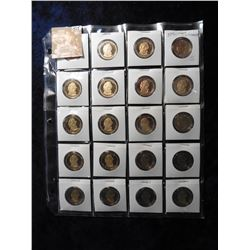 "(20) 2010 S James Buchanan Proof 65+ Presidential Dollars in 2"" x 2"" holders and a plastic page. Red"