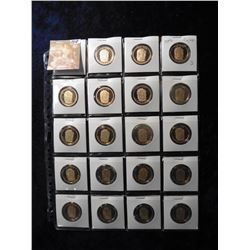 "(20) 2009 S John Tyler Proof 65+ Presidential Dollars in 2"" x 2"" holders and a plastic page. Red boo"