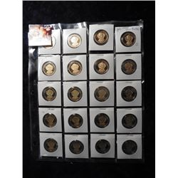 "(20) 2008 S Martin Van Buren Proof 65+ Presidential Dollars in 2"" x 2"" holders and a plastic page. R"