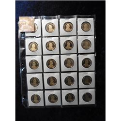 "(20) 2009 S William Henry Harrison Proof 65+ Presidential Dollars in 2"" x 2"" holders and a plastic p"