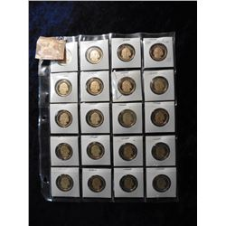 "(20) 2007 S James Madison Proof 65+ Presidential Dollars in 2"" x 2"" holders and a plastic page. Red"