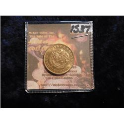 1924B Colombia 0.917 fine Gold Five Peso. KM201.1. Simon Bolivar. .2355 Ounces fine gold. BU. KM val