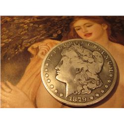 1879 CC Morgan Silver Dollar. Capped Die variety. VAM 3. VG-8. Red Book value is $290 in VF.