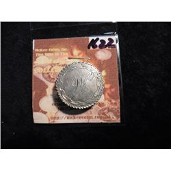 "1853 U.S. Seated Liberty Quarter Love Token Pinback ""M"". Engraved with Scroll work."