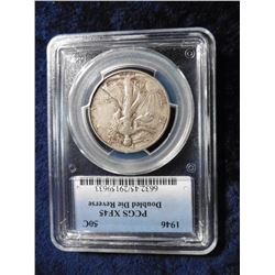 """1946 P Walking Liberty Half Dollar. Extremely Rare PCGS Slabbed """"PCGS XF45 Doubled Die Reverse"""".  Se"""
