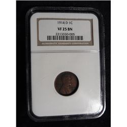 "1914 D Lincoln Cent NGC slabbed ""VF 25 BN"". No.2213330-005. Red Book value is $425.00."