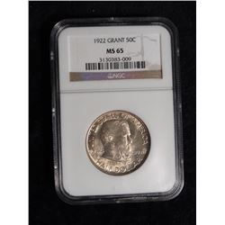 "1922 Grant Commemorative Half Dollar. NGC slabbed ""MS65"". A superb wonder coin commemorating the Civ"