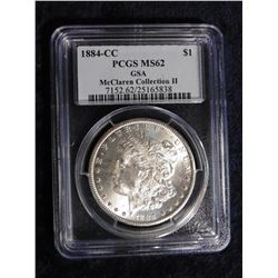 "1884 CC Morgan  Silver Dollar slabbed ""PCGS MS62 GSA McClaren Collection II"" Serial Number 7152.62/2"