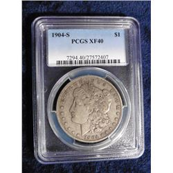 "1904 S Morgan Silver Dollar slabbed ""PCGS XF40"". Serial Number 7294.40/27572407. Red Book value $200"