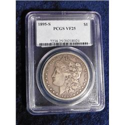 "1895 S Morgan Silver Dollar. Slabbed ""PCGS VF25"". Serial number 7538.25/20218924. 400,000 mtg. Red B"