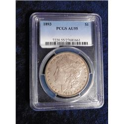 "1893 P Morgan Silver Dollar slabbed ""PCGS AU55"". Serial Number 7220.55/27681661. Mtg. 378,000. Red B"