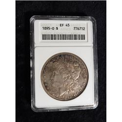 "1895 O Morgan Silver Dollar. ANACS slabbed ""EF 45"". Red Book value in EF 40 is $600.00."
