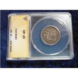 "1859 U.S. Seated Liberty Quarter. ANACS slabbed ""EF 40"" Serial no. 4819574."