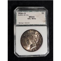 "1926 S U.S. Peace Silver Dollar. PCI slabbed ""1926-S Doubled Die Obverse MS 64 90% White"". Serial no"