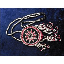 Historic Beaded Indian Necklace. White, black, and red seed beads.