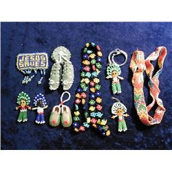Pair of Miniature Moccasins; Floral Seed Bead Necklace; Elastic Strung Indian Wampum; & several othe