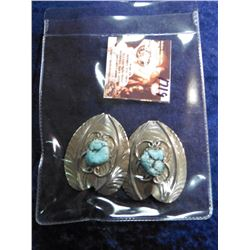 Two Turquoise Nugget and Sterling Silver Leaves. Probably originally made for Pendants or Earrings.